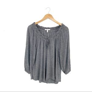 Soft Joie Gray 3/4 Sleeve Tie Front Top Size L